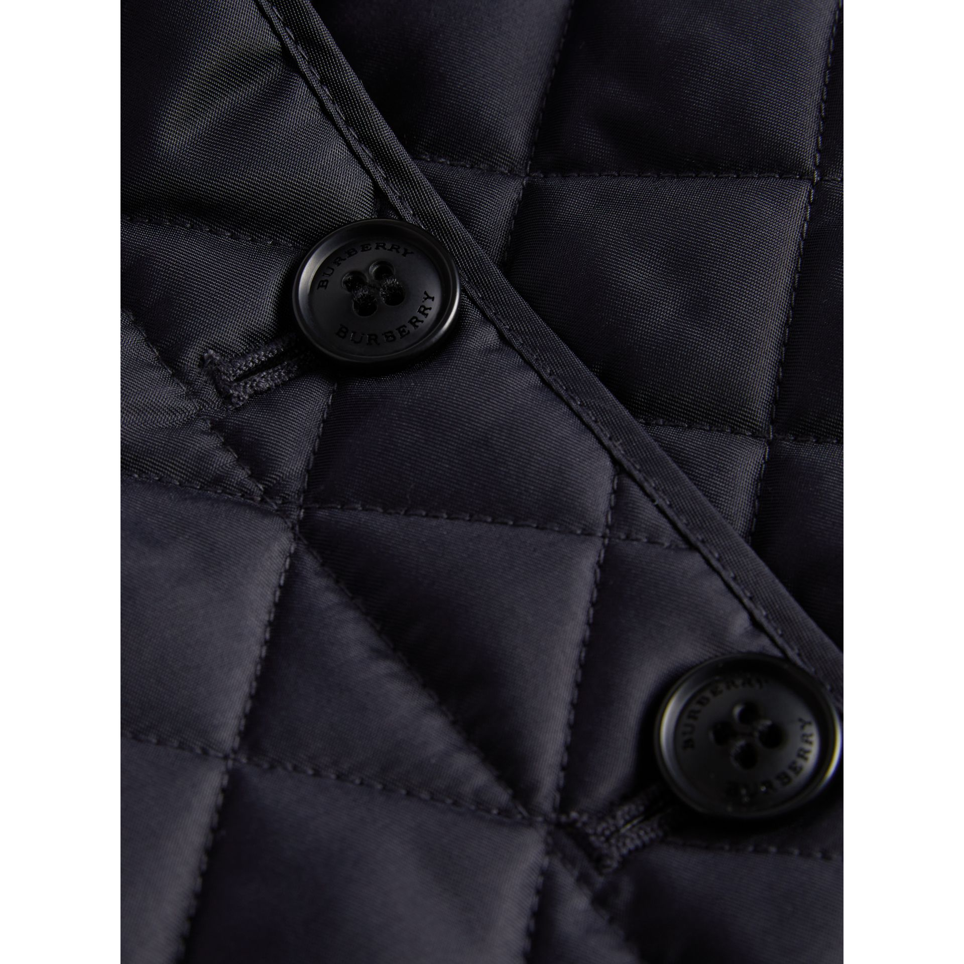 Check Lined Diamond Quilted Jacket in Navy - Girl | Burberry - gallery image 1