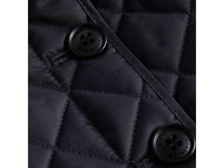 Check Lined Diamond Quilted Jacket in Navy - Girl | Burberry - cell image 1