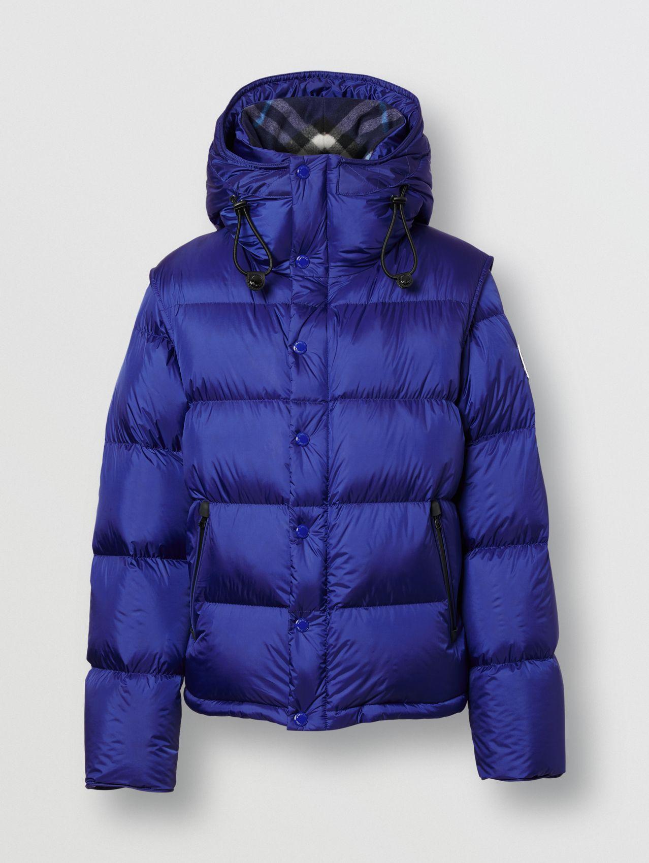Detachable Sleeve Hooded Puffer Jacket in Dark Cobalt Blue