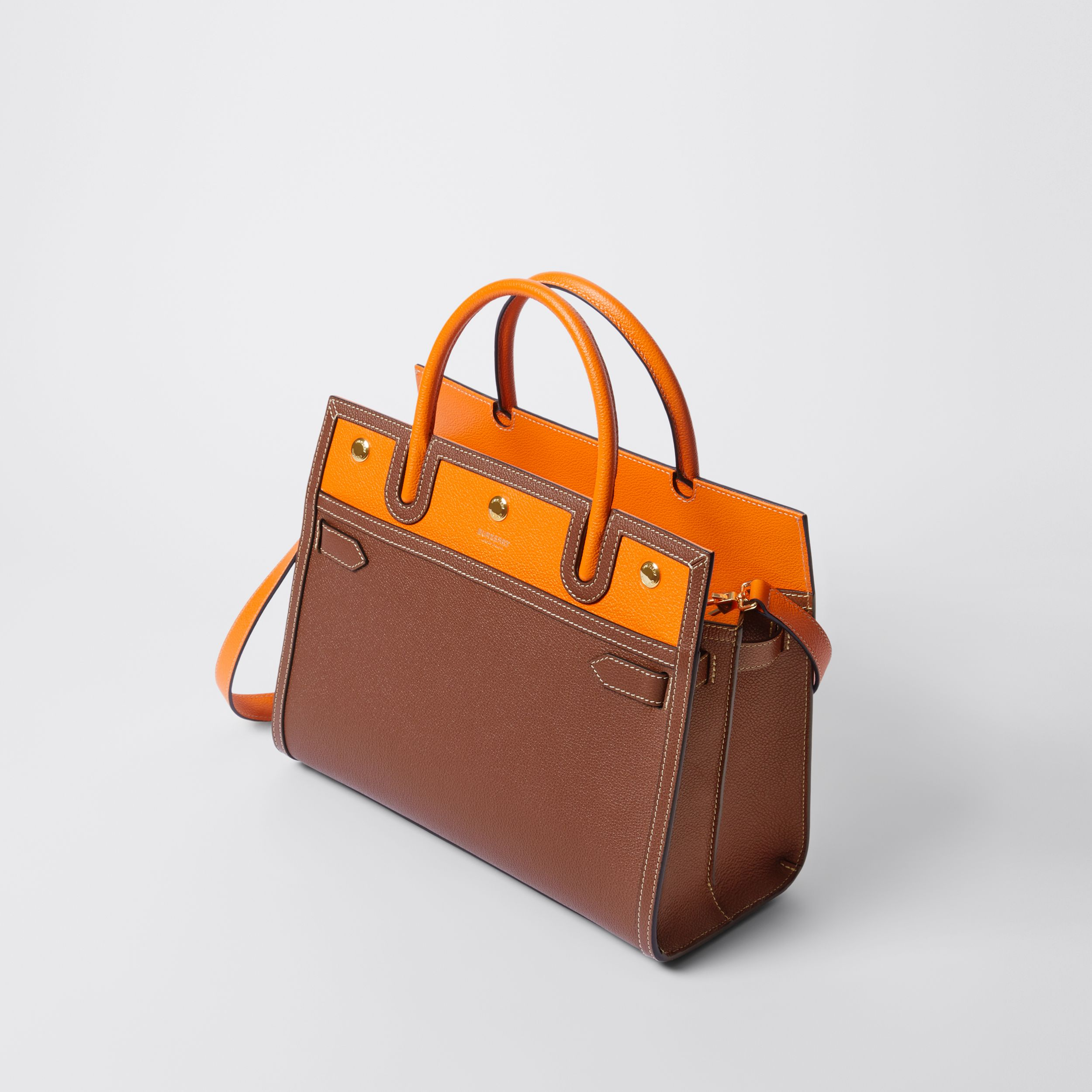 Small Leather Two-handle Title Bag in Tan/bright Orange - Women | Burberry Australia - 4