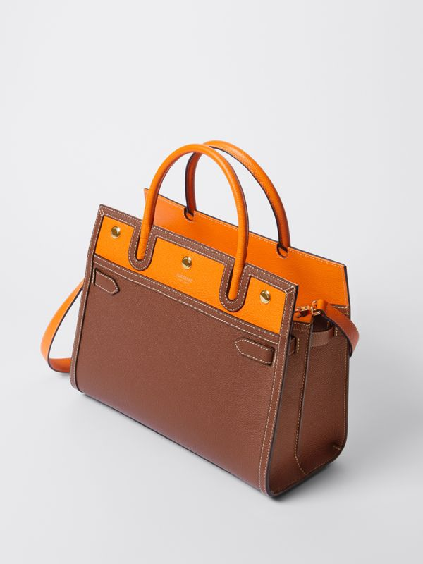 Small Leather Two-handle Title Bag in Tan/bright Orange - Women | Burberry - cell image 3