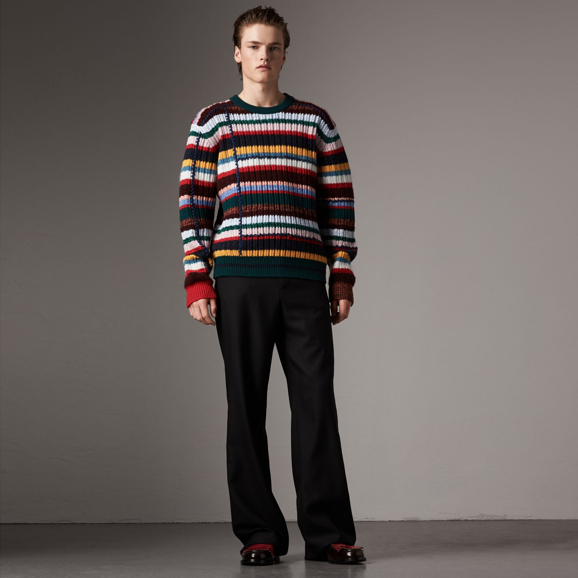 Striped Wool Cashmere Cotton Sweater in Dark Racing Green - Men | Burberry - gallery image 0