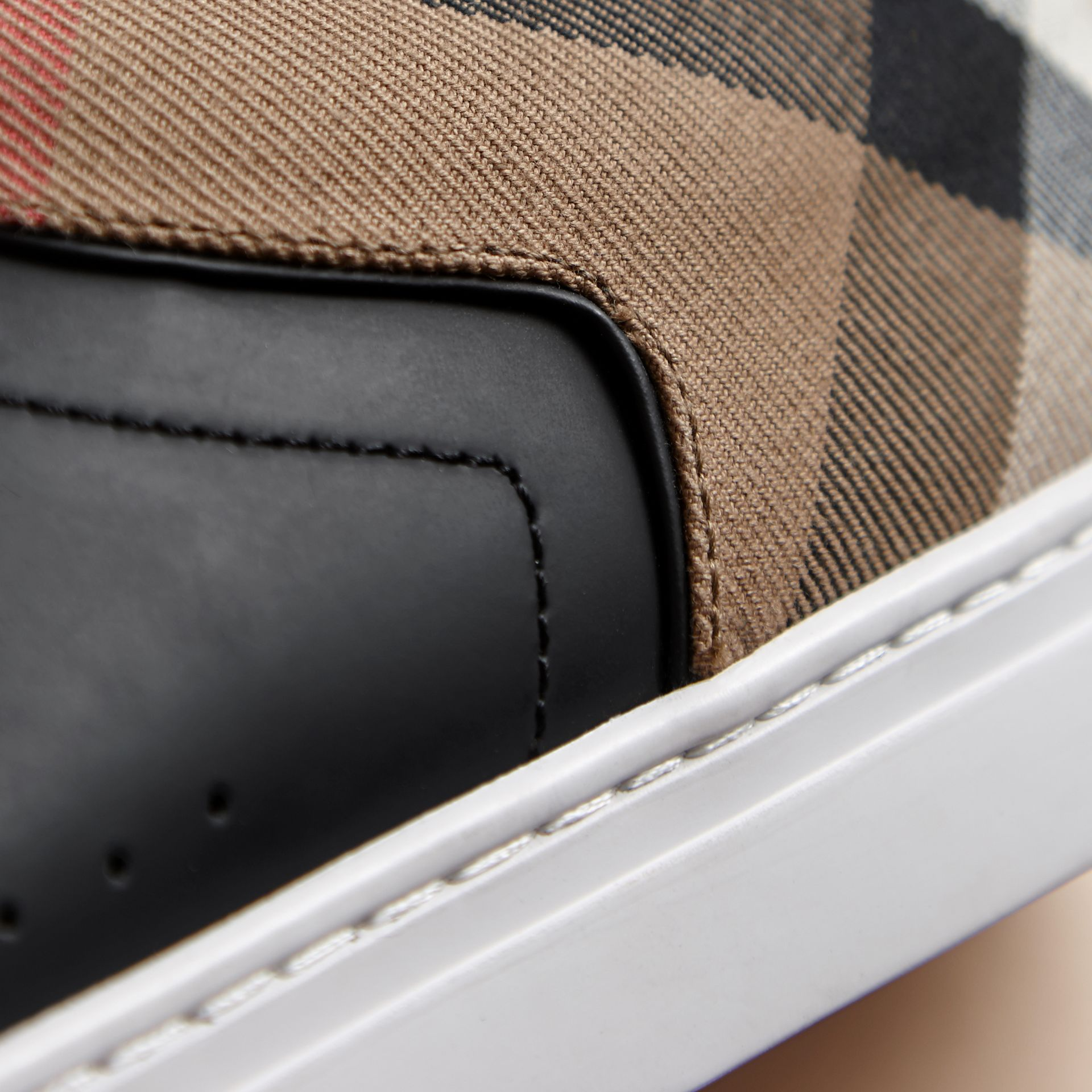 Leather and House Check Trainers in Black - Men | Burberry - gallery image 2