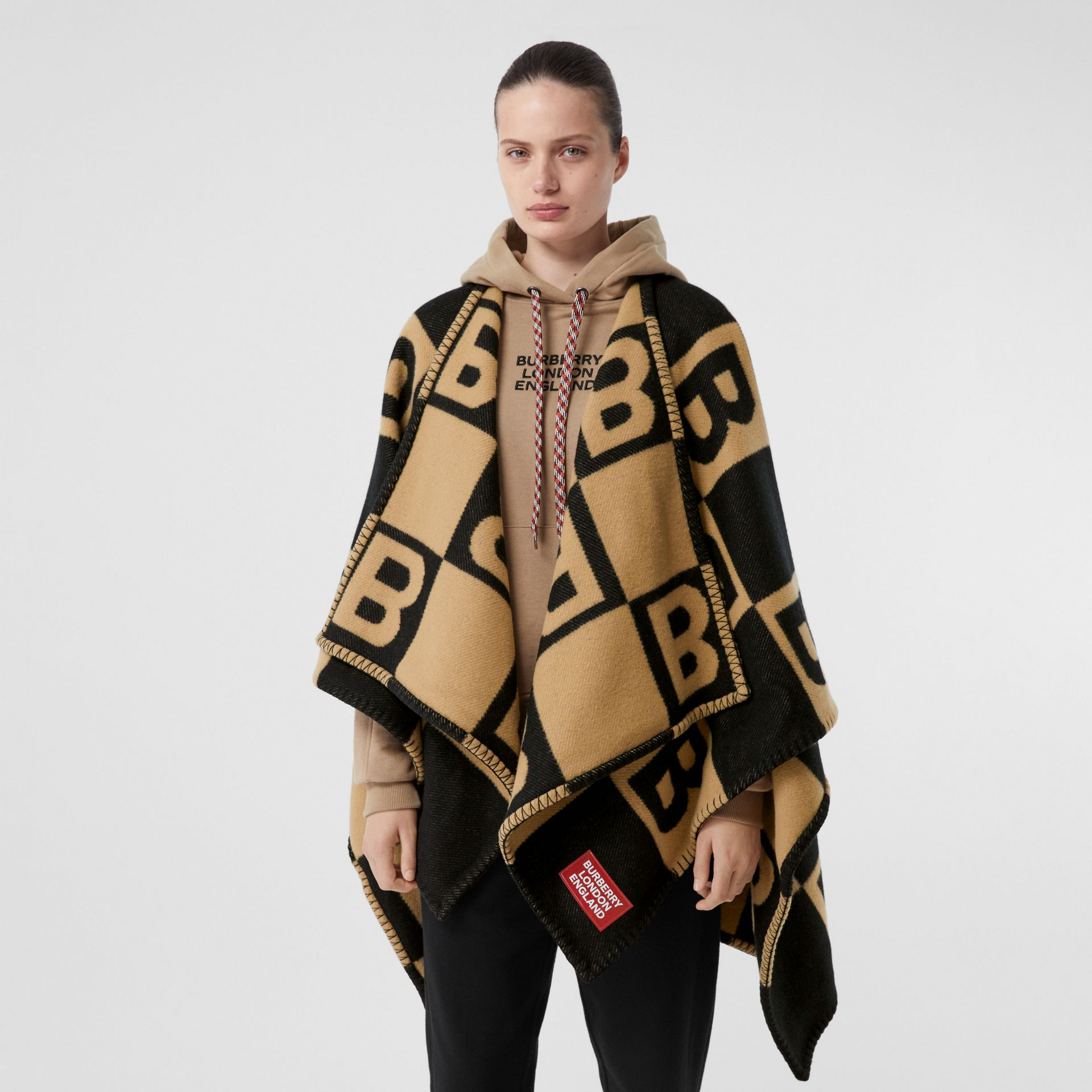 B Motif Merino Wool Cashmere Cape in Archive Beige - Women | Burberry - gallery image 5