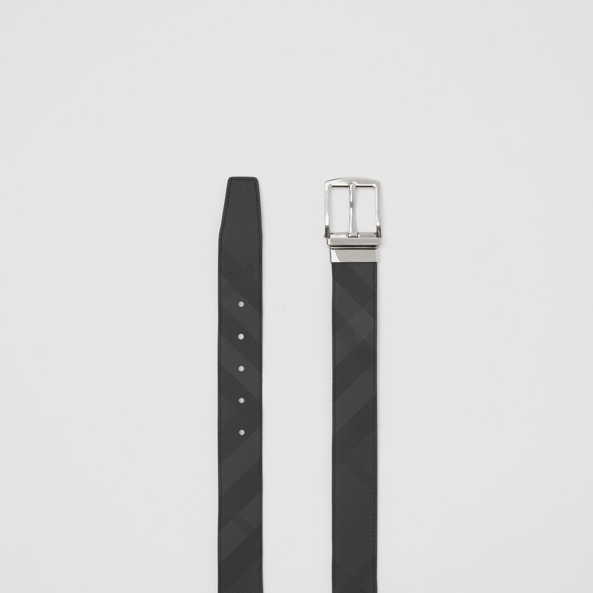 Reversible London Check and Leather Belt in Dark Charcoal/black - Men | Burberry Australia - gallery image 5