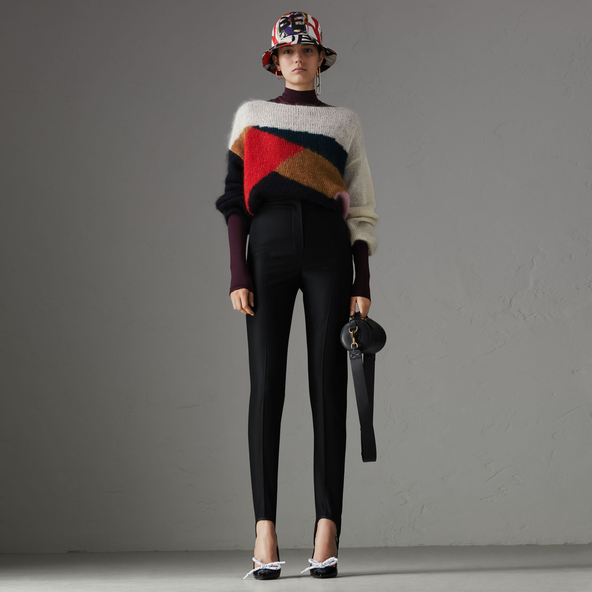 Geometric Intarsia Mohair Silk Blend Sweater in Black - Women | Burberry United Kingdom - gallery image 0