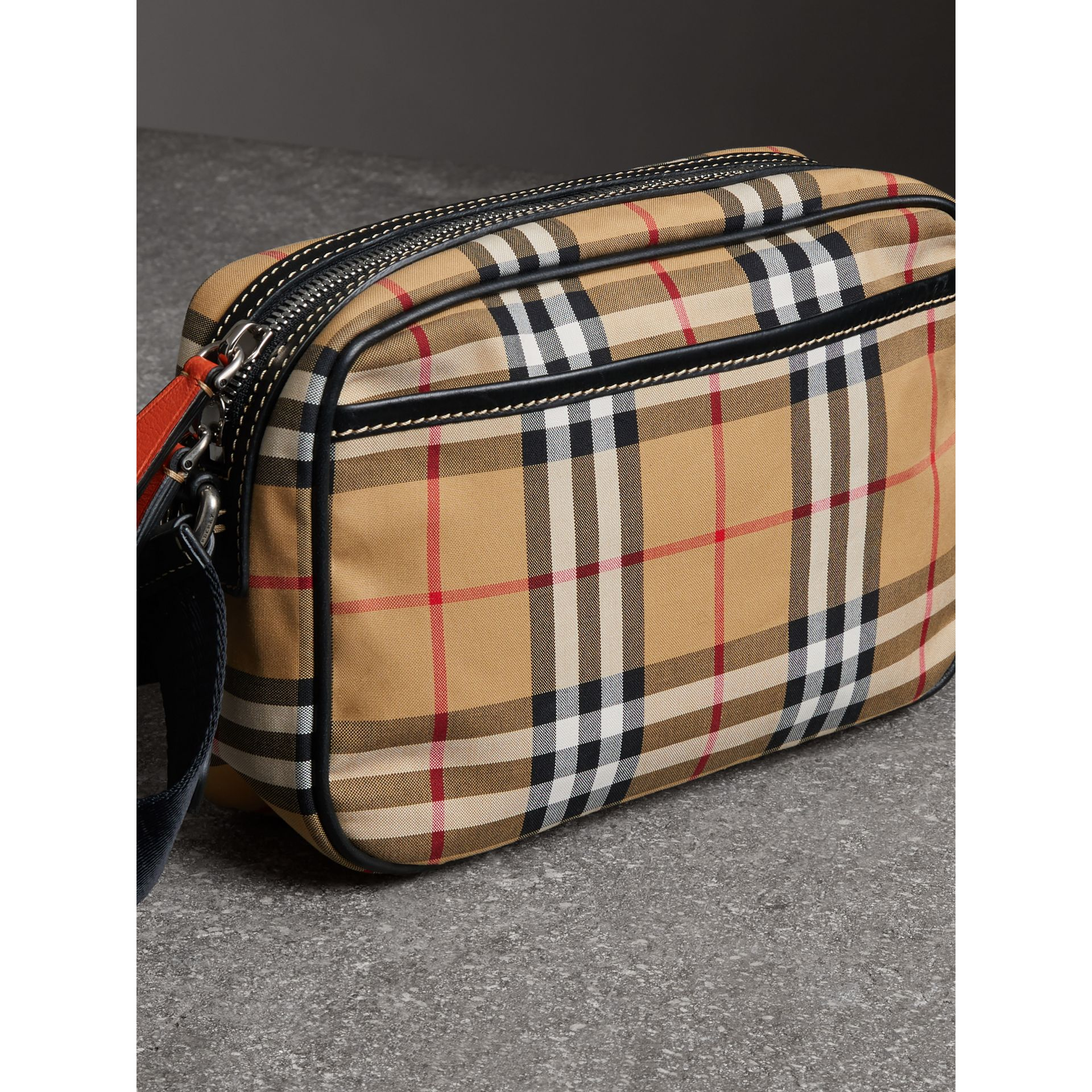 Vintage Check and Leather Crossbody Bag in Clementine - Men | Burberry United Kingdom - gallery image 4