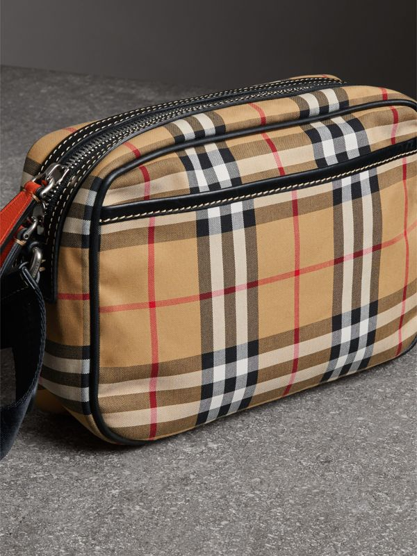 Vintage Check and Leather Crossbody Bag in Clementine   Burberry United States - cell image 3
