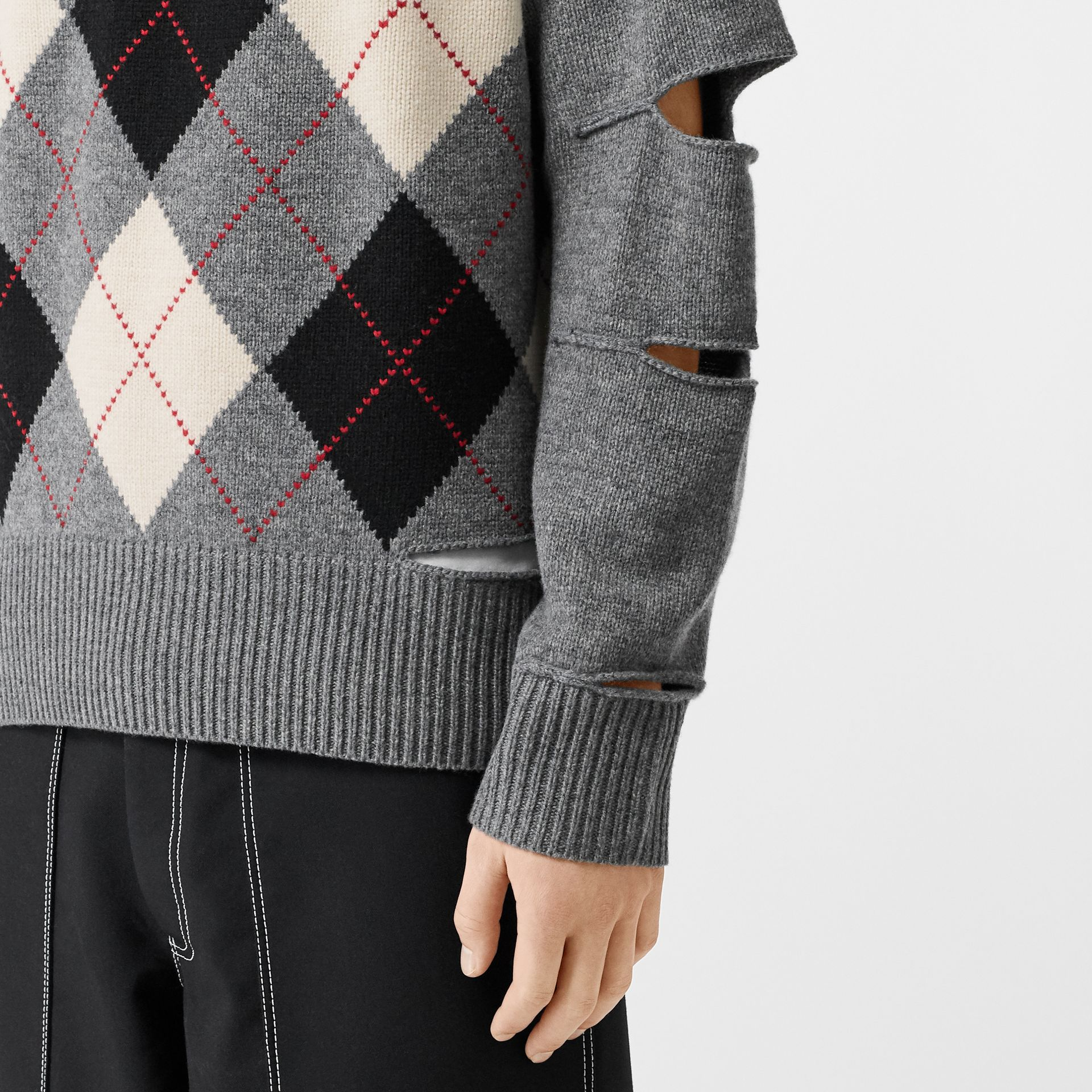 Cut-out Detail Merino Wool Cashmere Sweater in Mid Greymelange - Men | Burberry Australia - gallery image 1
