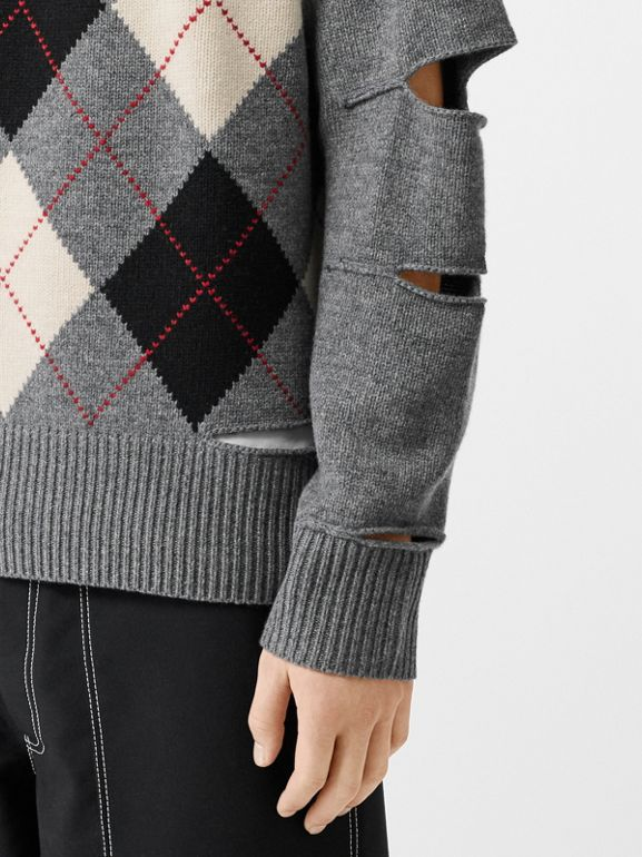 Cut-out Detail Merino Wool Cashmere Sweater in Mid Greymelange - Men | Burberry Australia - cell image 1