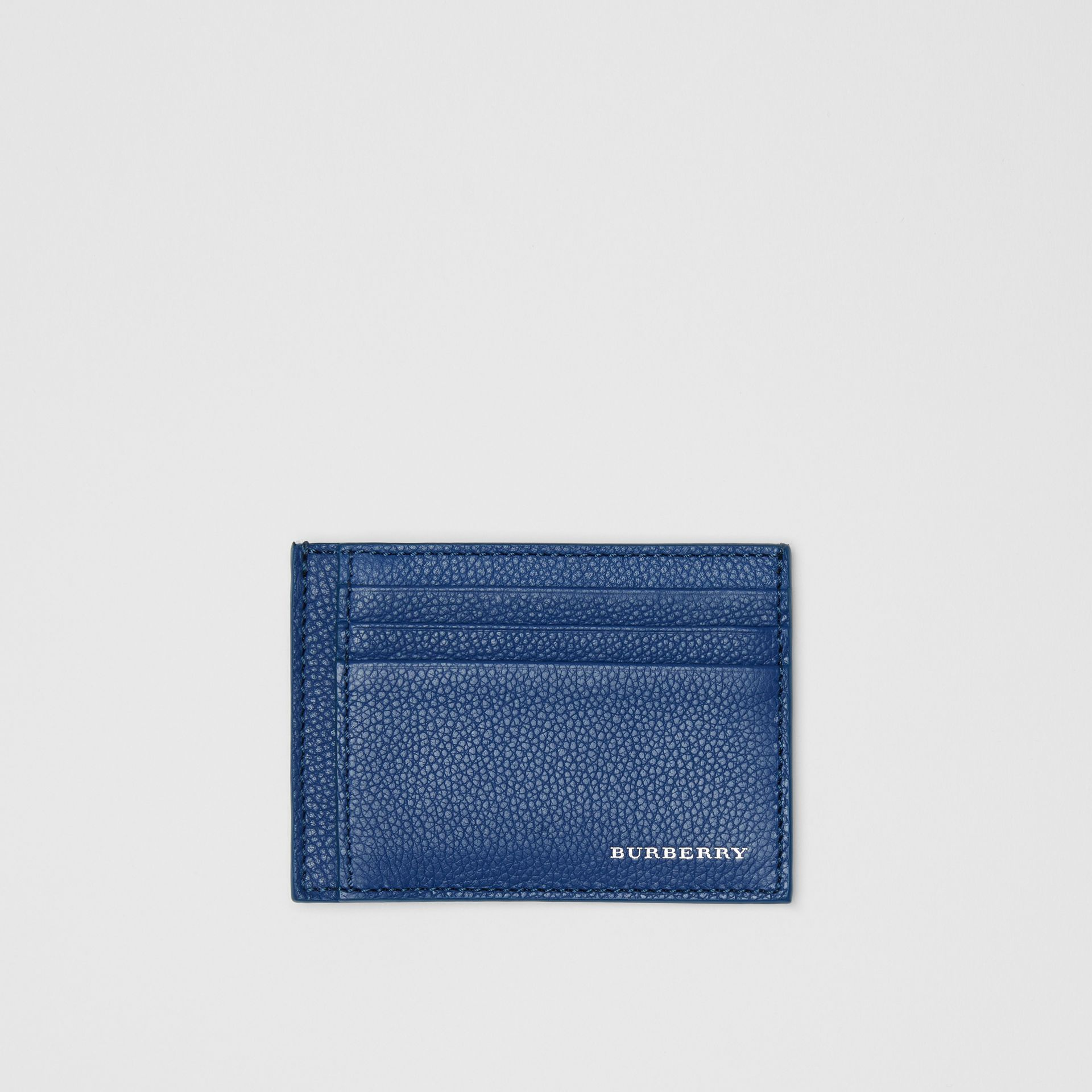 Grainy Leather Money Clip Card Case in Bright Ultramarine - Men | Burberry United States - gallery image 0