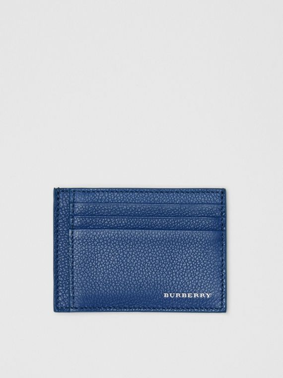 Grainy Leather Money Clip Card Case in Bright Ultramarine