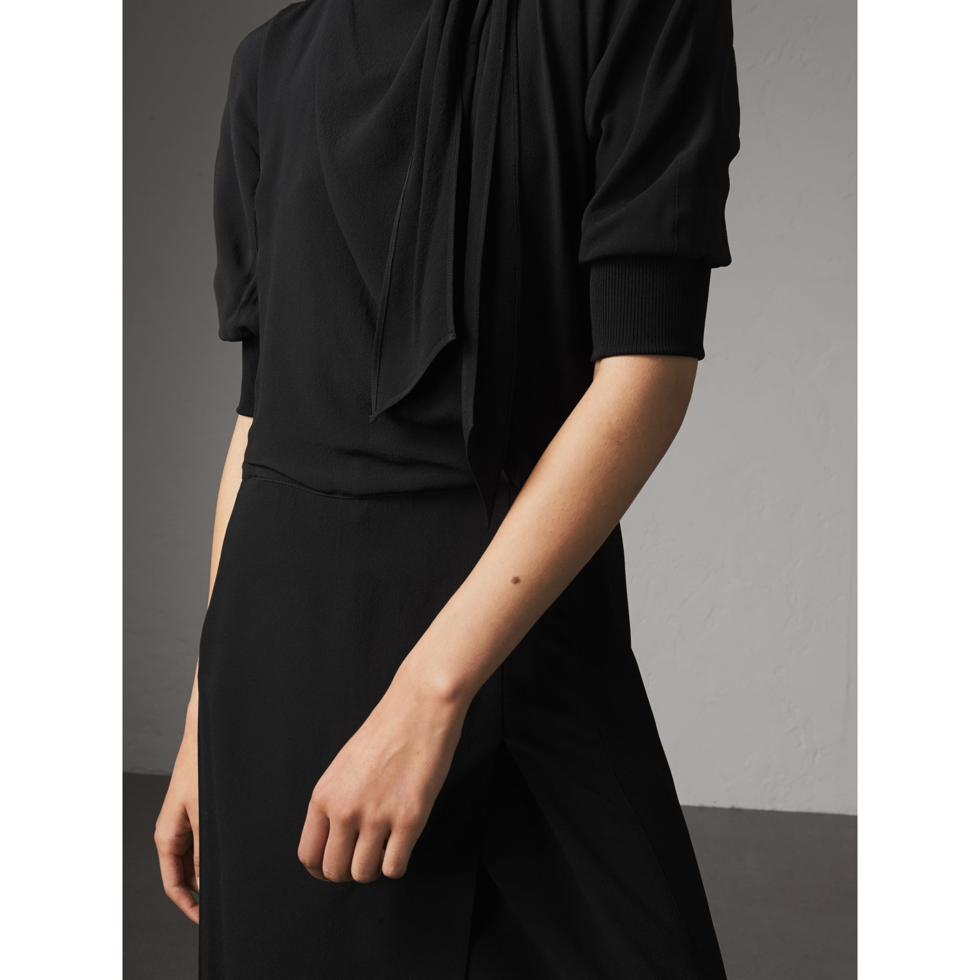 Pussy-bow Crepe Dress in Black - Women | Burberry Australia - gallery image 2