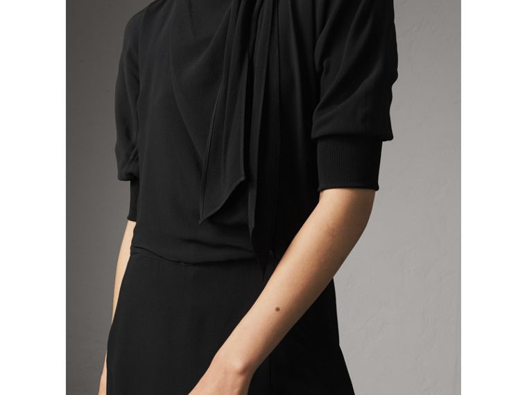 Pussy-bow Crepe Dress in Black - Women | Burberry Australia - cell image 1
