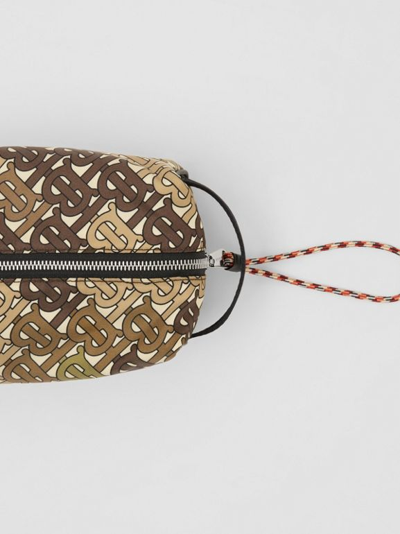 Monogram Print Nylon Pouch in Khaki Green - Men | Burberry Australia - cell image 1