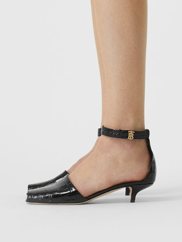 Monogram Motif Embossed Leather Sandals in Black - Women | Burberry United Kingdom - cell image 2