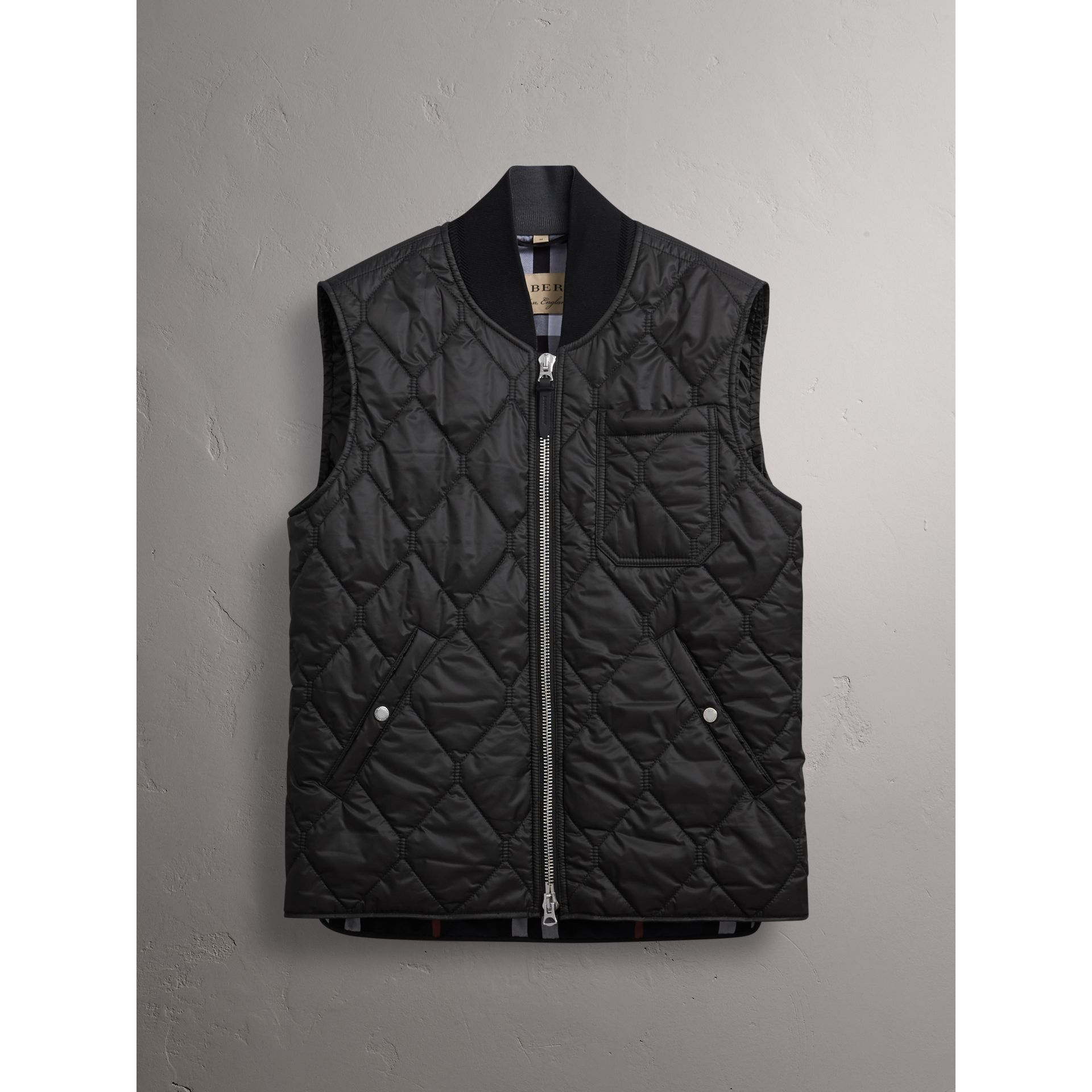 Diamond Quilted Gilet in Black - Men | Burberry - gallery image 4