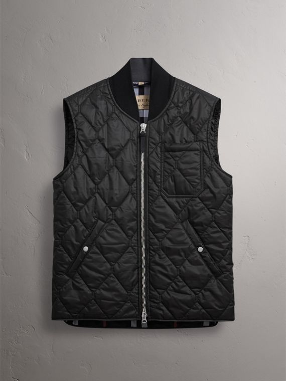 Diamond Quilted Gilet in Black - Men | Burberry Singapore - cell image 3