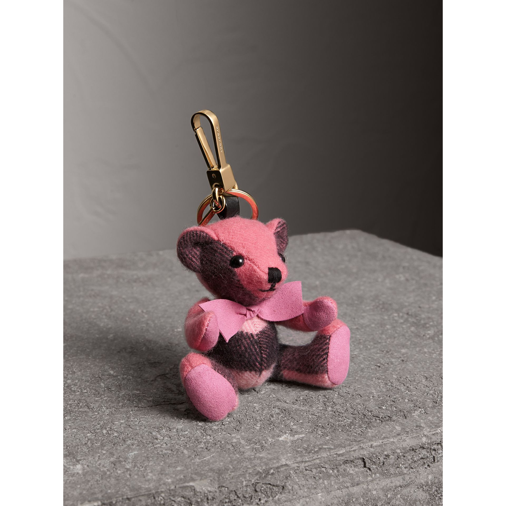 Thomas Bear Charm in Check Cashmere in Rose Pink - Women | Burberry - gallery image 1