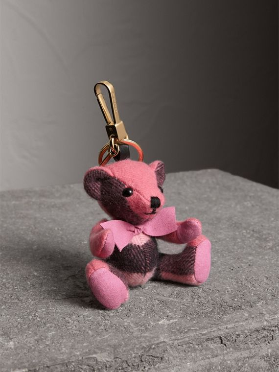 Thomas Bear Charm in Check Cashmere in Rose Pink