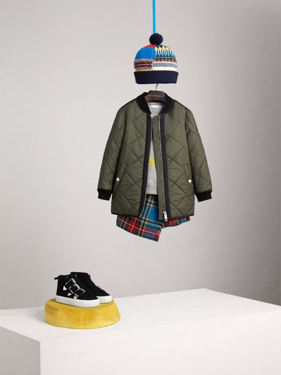 Quilted Cotton Blend Coat in Olive | Burberry Singapore - cell image 2