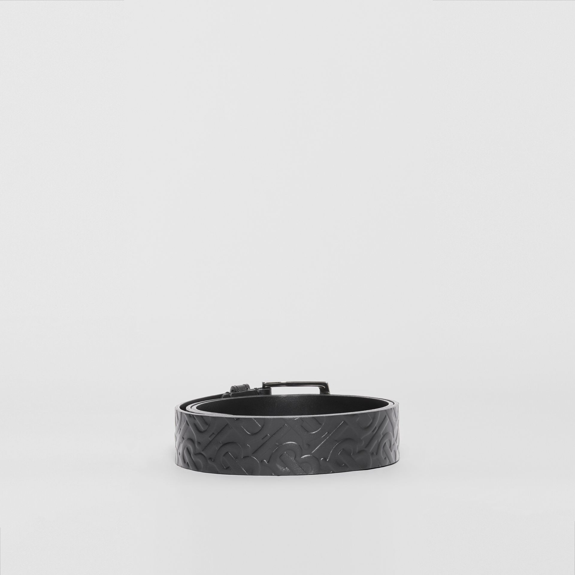 Monogram Leather Belt in Black - Men | Burberry - gallery image 4