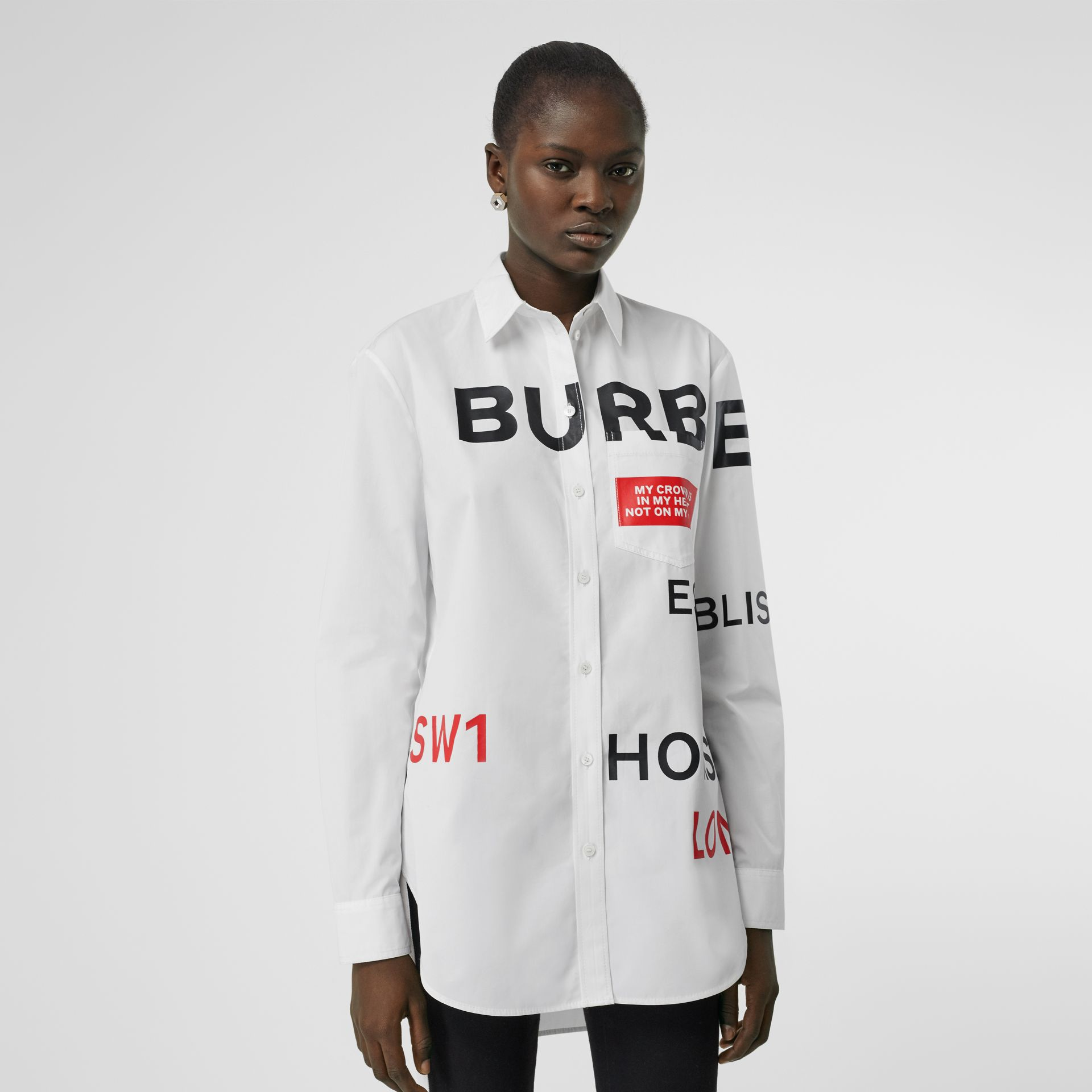 Horseferry Print Cotton Oversized Shirt in White - Women | Burberry Canada - gallery image 4