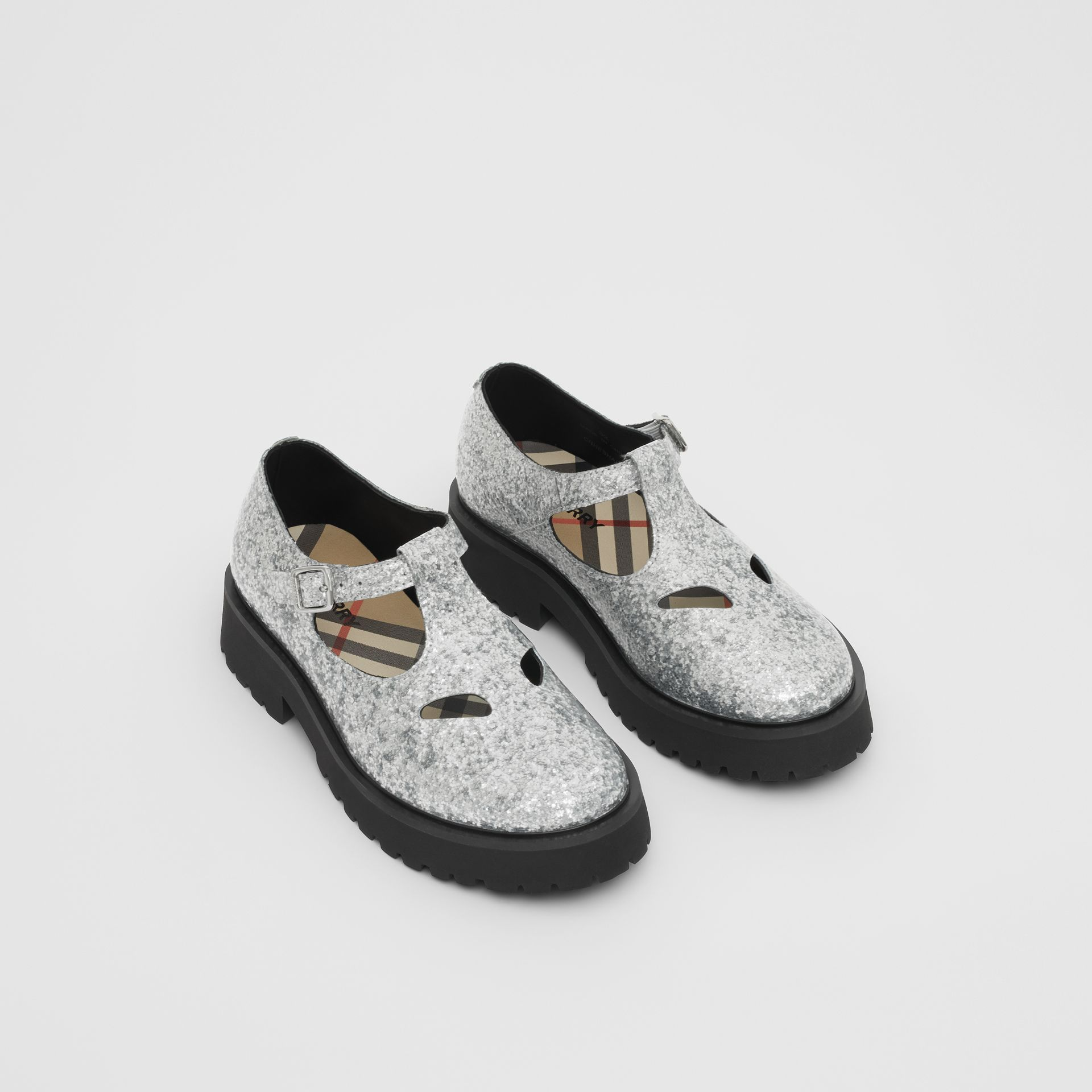 Glittery T-bar Shoes in Silver - Children | Burberry United Kingdom - gallery image 0
