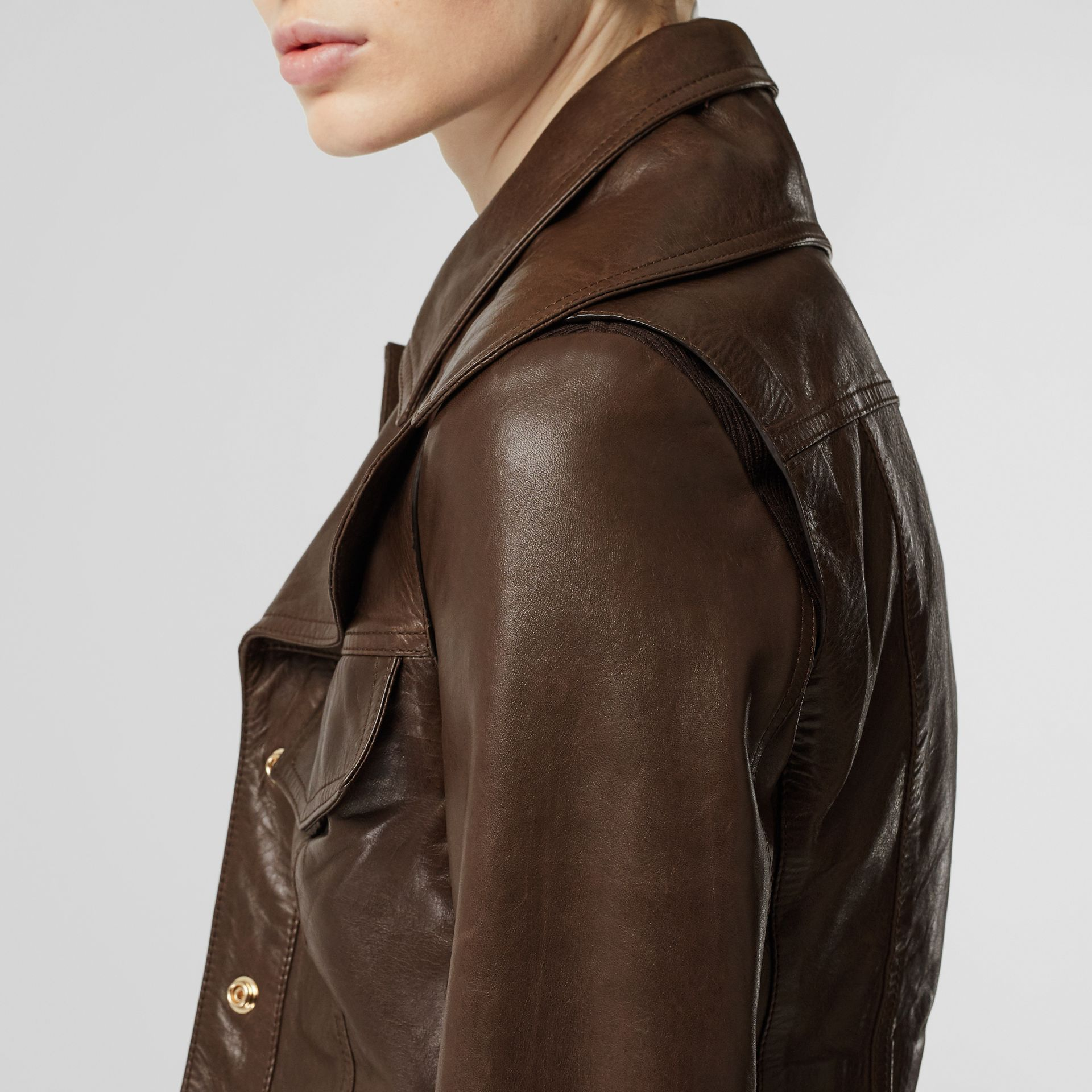 Lambskin Coat with Detachable Cropped Gilet in Dark Brown - Women | Burberry - gallery image 4