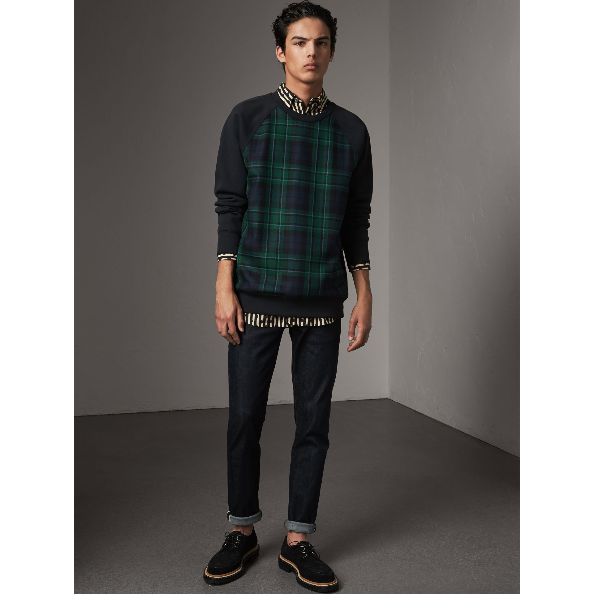 Tartan Panel Jersey Sweatshirt in Navy - Men | Burberry - gallery image 5