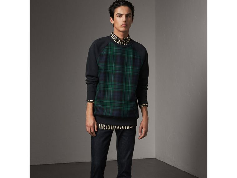 Tartan Panel Jersey Sweatshirt in Navy - Men | Burberry - cell image 4