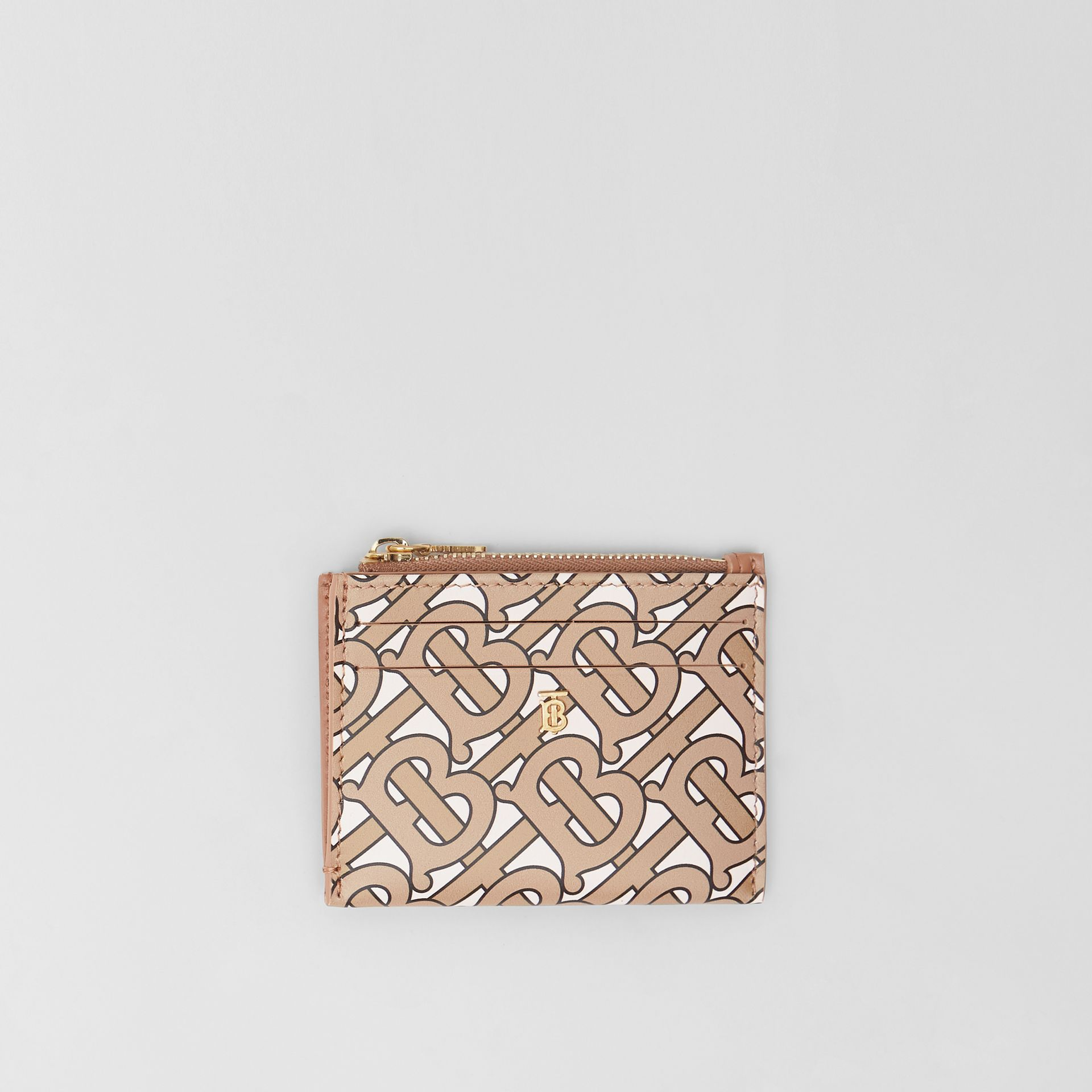 Monogram Print Leather Zip Card Case in Beige - Women | Burberry - gallery image 0