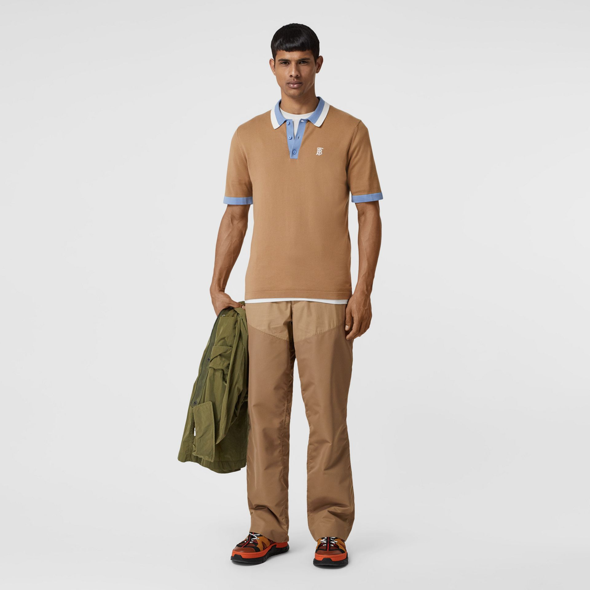 Monogram Motif Tipped Cotton Polo Shirt in Camel - Men | Burberry United States - gallery image 0