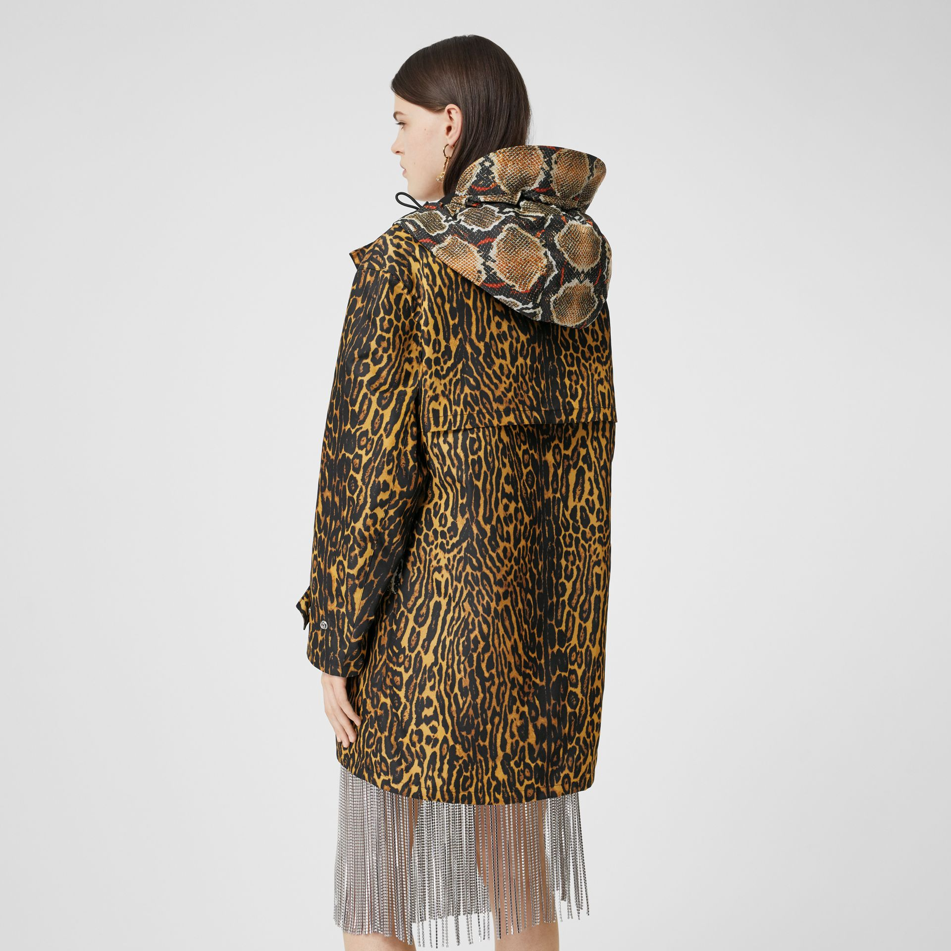 Animal Print Nylon Twill Parka in Honey - Women | Burberry - gallery image 2