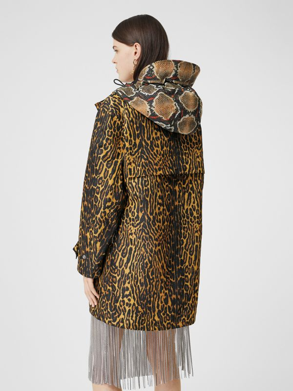 Animal Print Nylon Twill Parka in Honey - Women | Burberry - cell image 2
