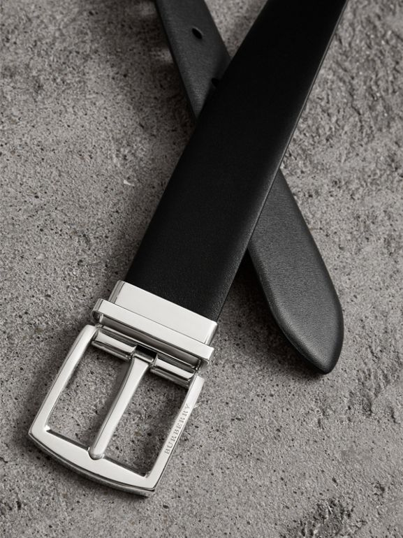 Reversible Leather Belt in Black - Men | Burberry - cell image 1