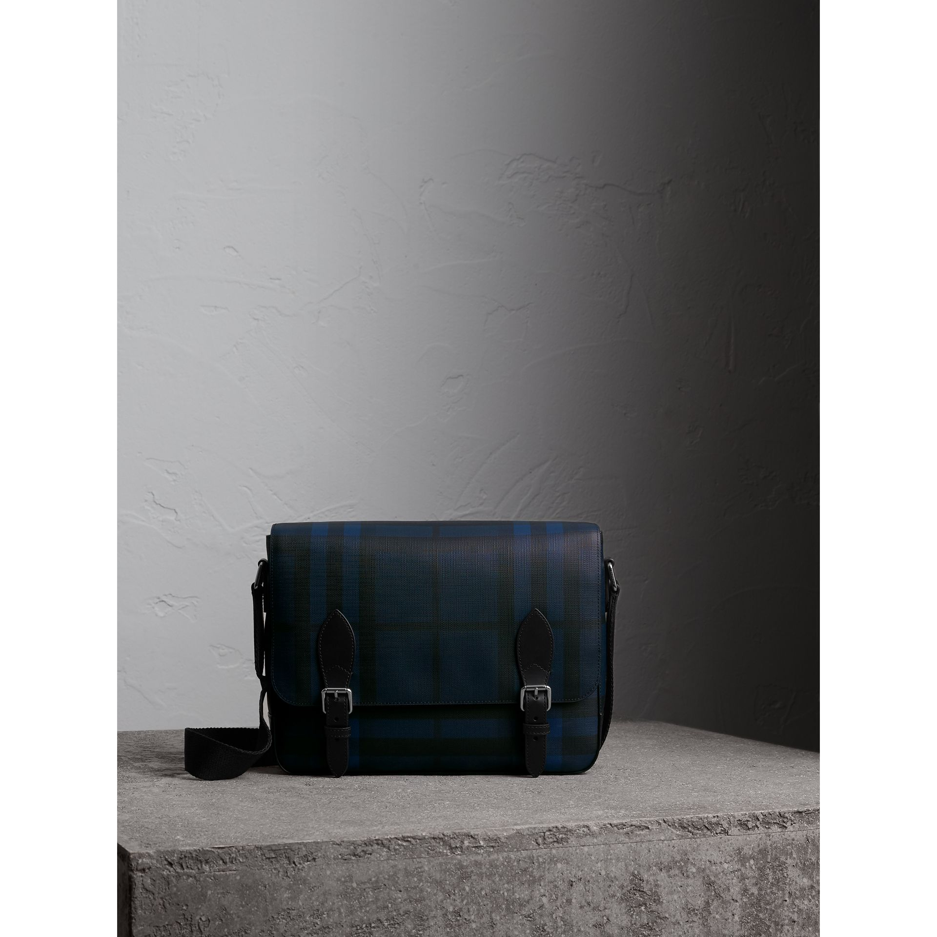 Medium Leather Trim London Check Messenger Bag in Navy/black - Men | Burberry Singapore - gallery image 0