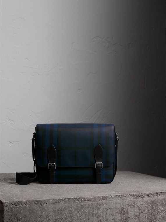 Medium Leather Trim London Check Messenger Bag in Navy/black
