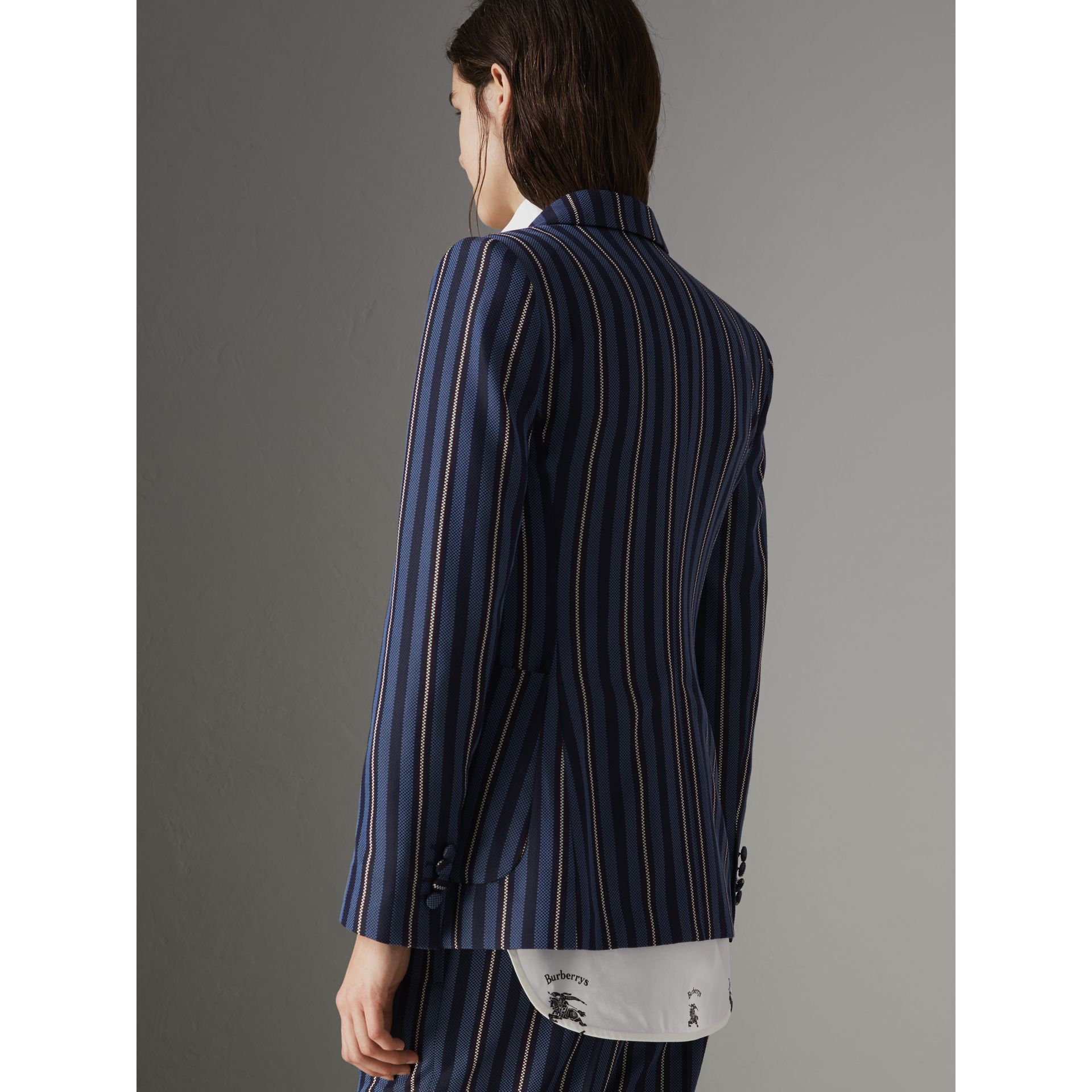 Collegiate Stripe Wool Blend Blazer in Navy/light Blue - Women | Burberry - gallery image 2