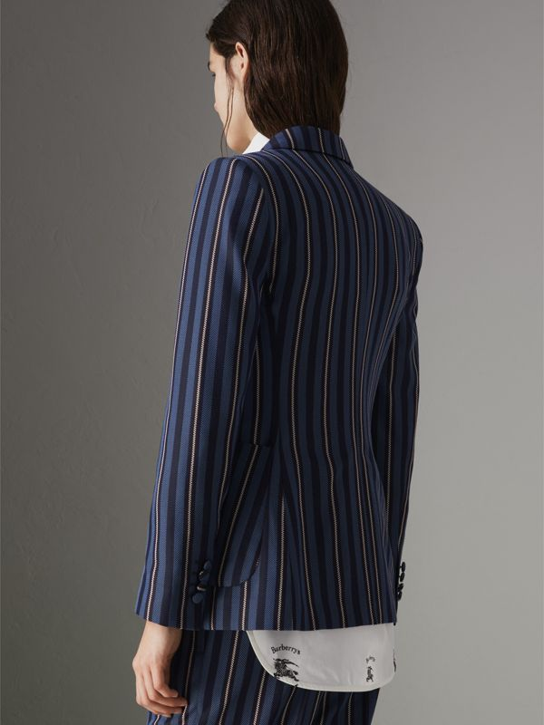 Collegiate Stripe Wool Blend Blazer in Navy/light Blue - Women | Burberry United Kingdom - cell image 2