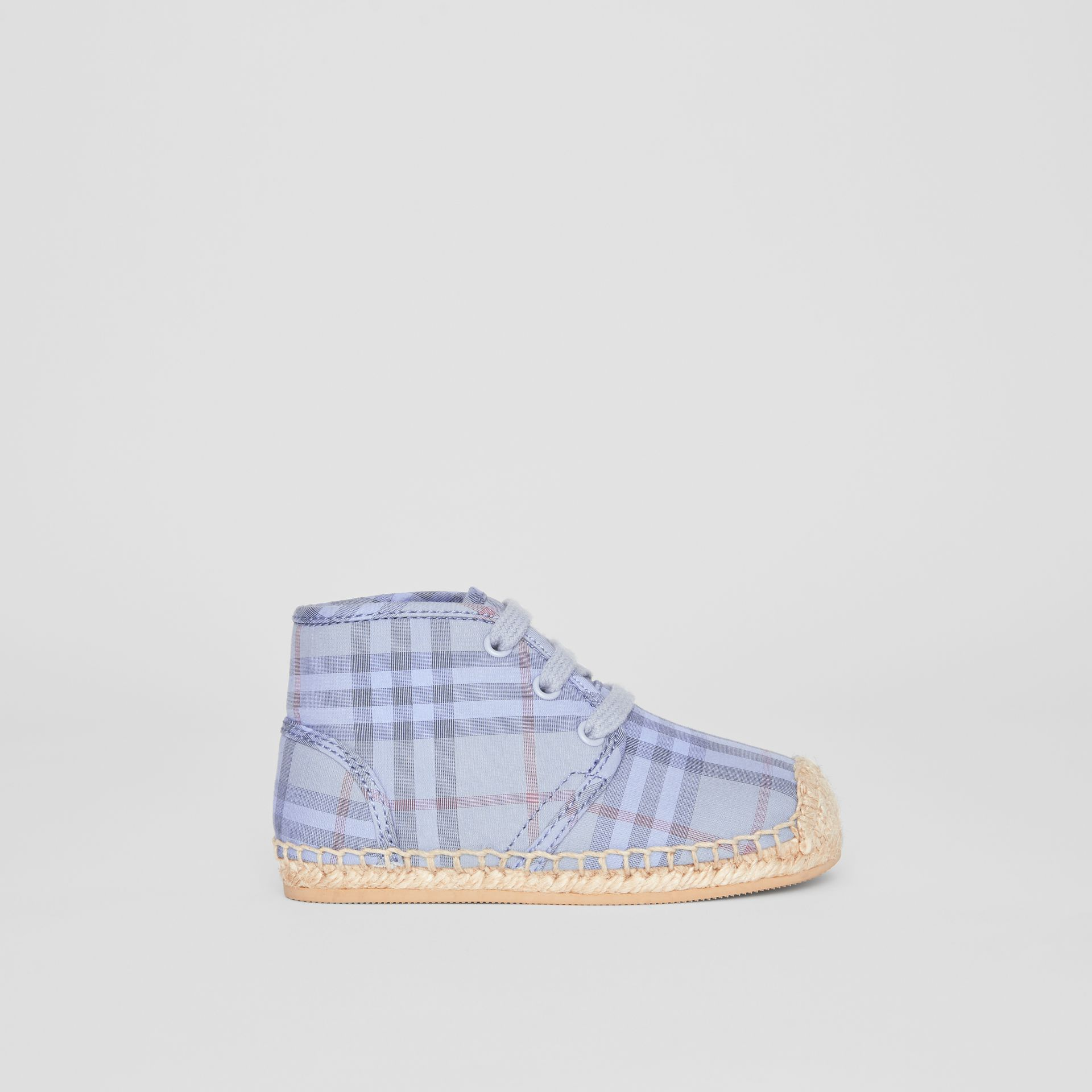 Check Espadrille Booties in Dusty Blue - Children | Burberry United Kingdom - gallery image 3