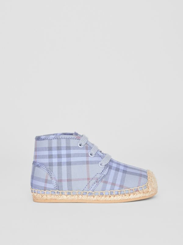 Check Espadrille Booties in Dusty Blue - Children | Burberry United Kingdom - cell image 3