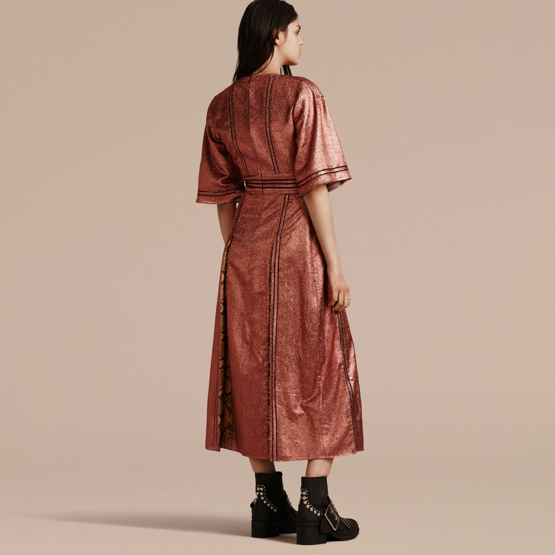 Copper rose Long Lamé and Python Print Dress Copper Rose - gallery image 3
