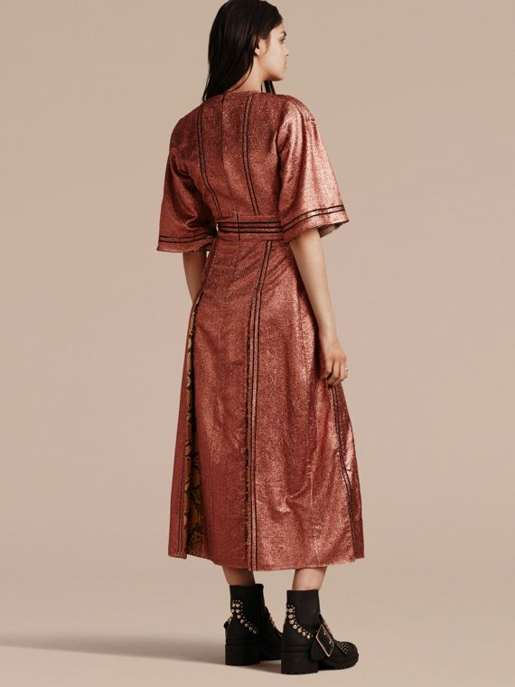 Copper rose Long Lamé and Python Print Dress Copper Rose - cell image 2