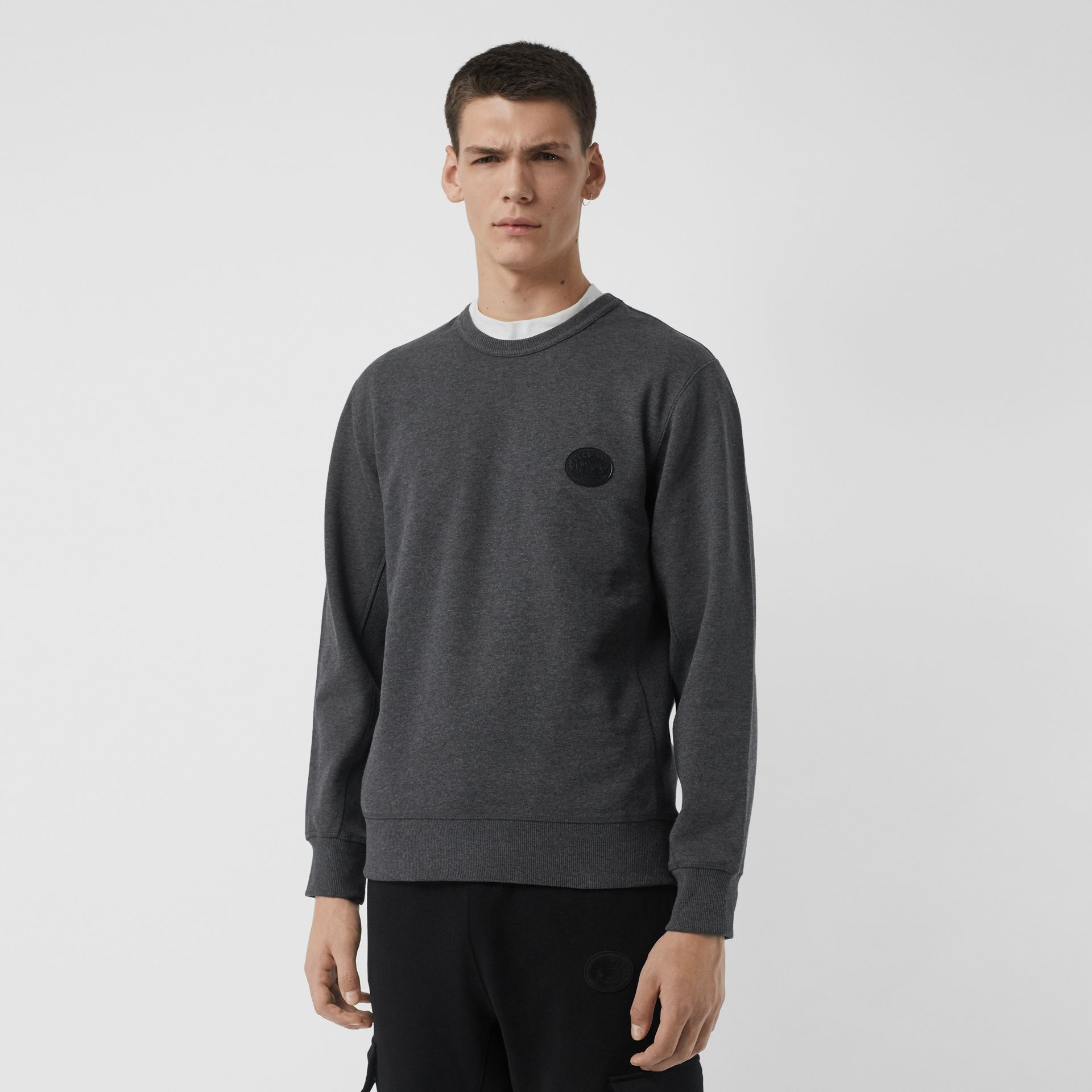 Embroidered Crest Cotton Sweatshirt in Mid Grey Melange - Men | Burberry Canada - gallery image 0