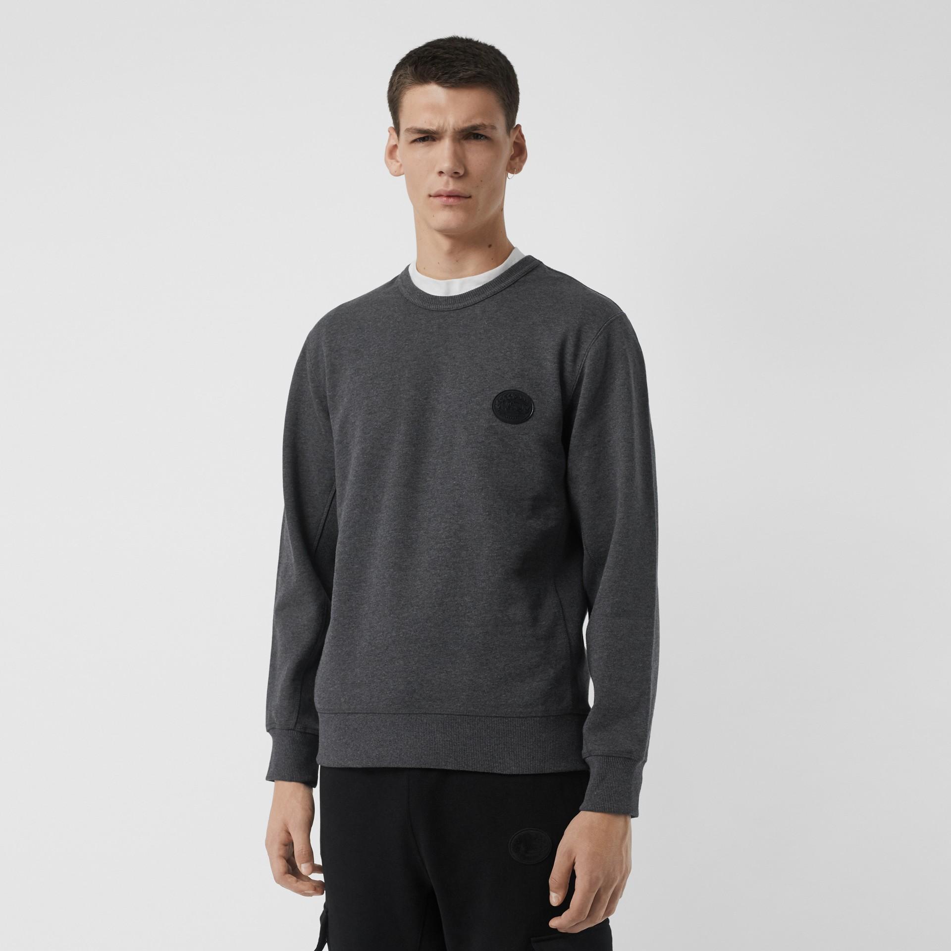 Embroidered Crest Cotton Sweatshirt in Mid Grey Melange - Men | Burberry United Kingdom - gallery image 0