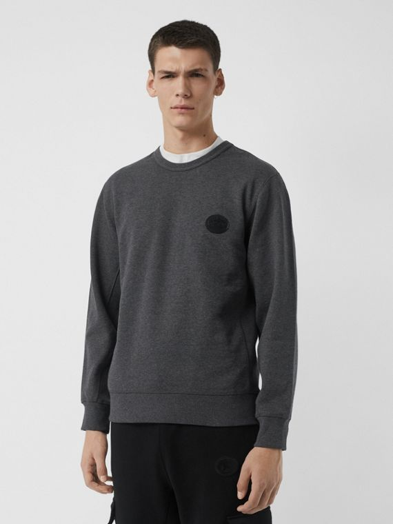 Embroidered Crest Cotton Sweatshirt in Mid Grey Melange