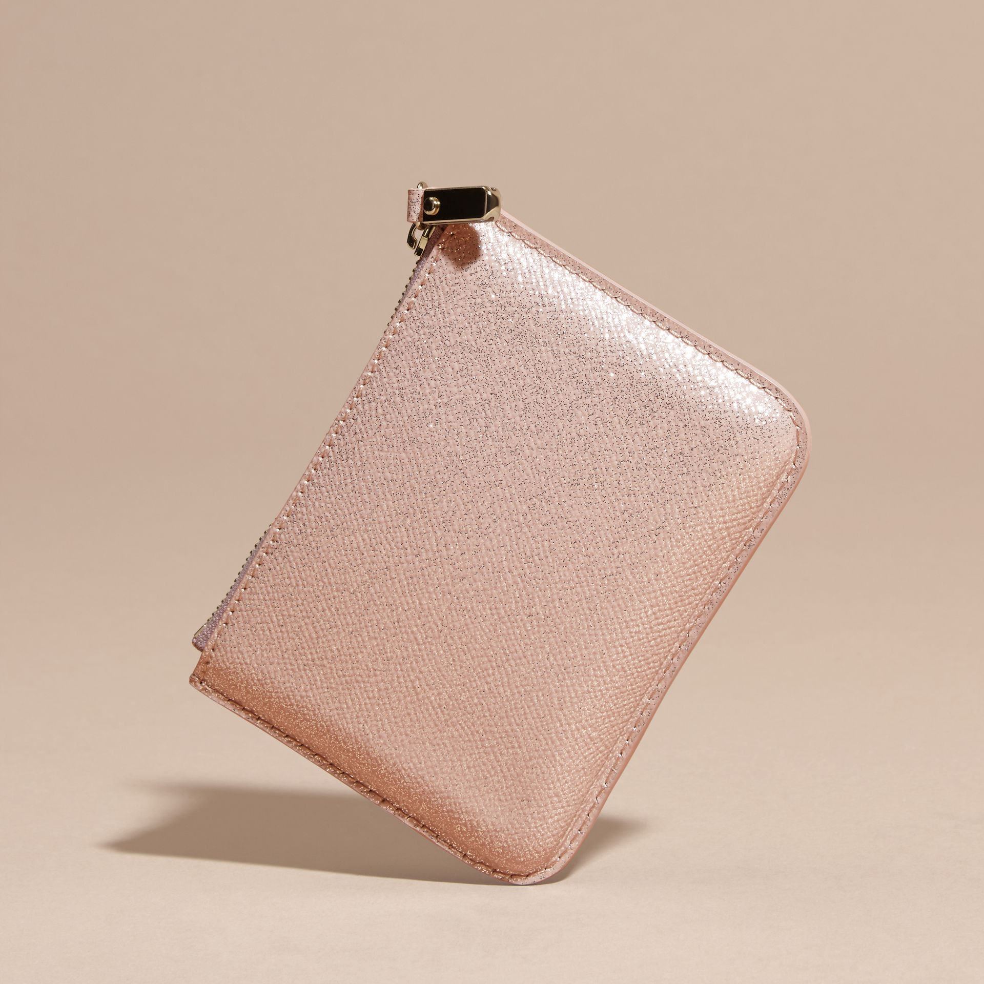 Glitter Leather Pouch in Pale Orchid - gallery image 4