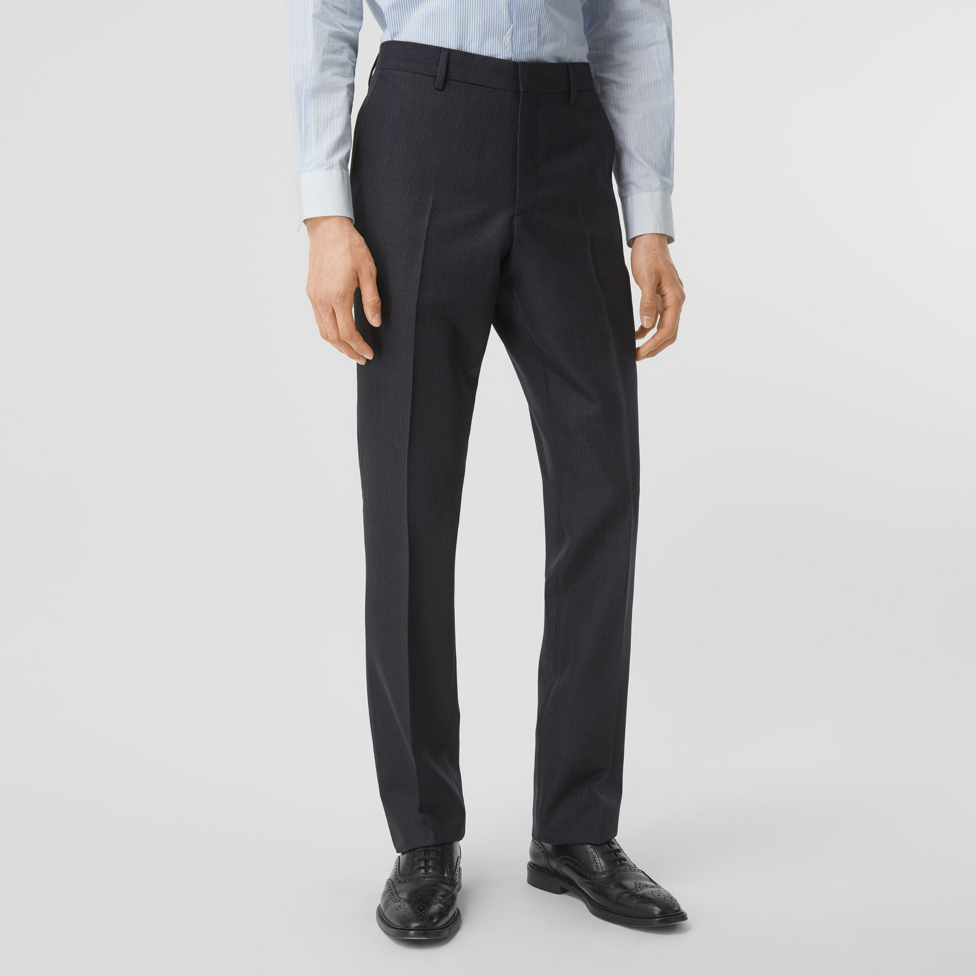 Classic Fit Puppytooth Check Wool Mohair Suit in Navy - Men | Burberry - gallery image 5