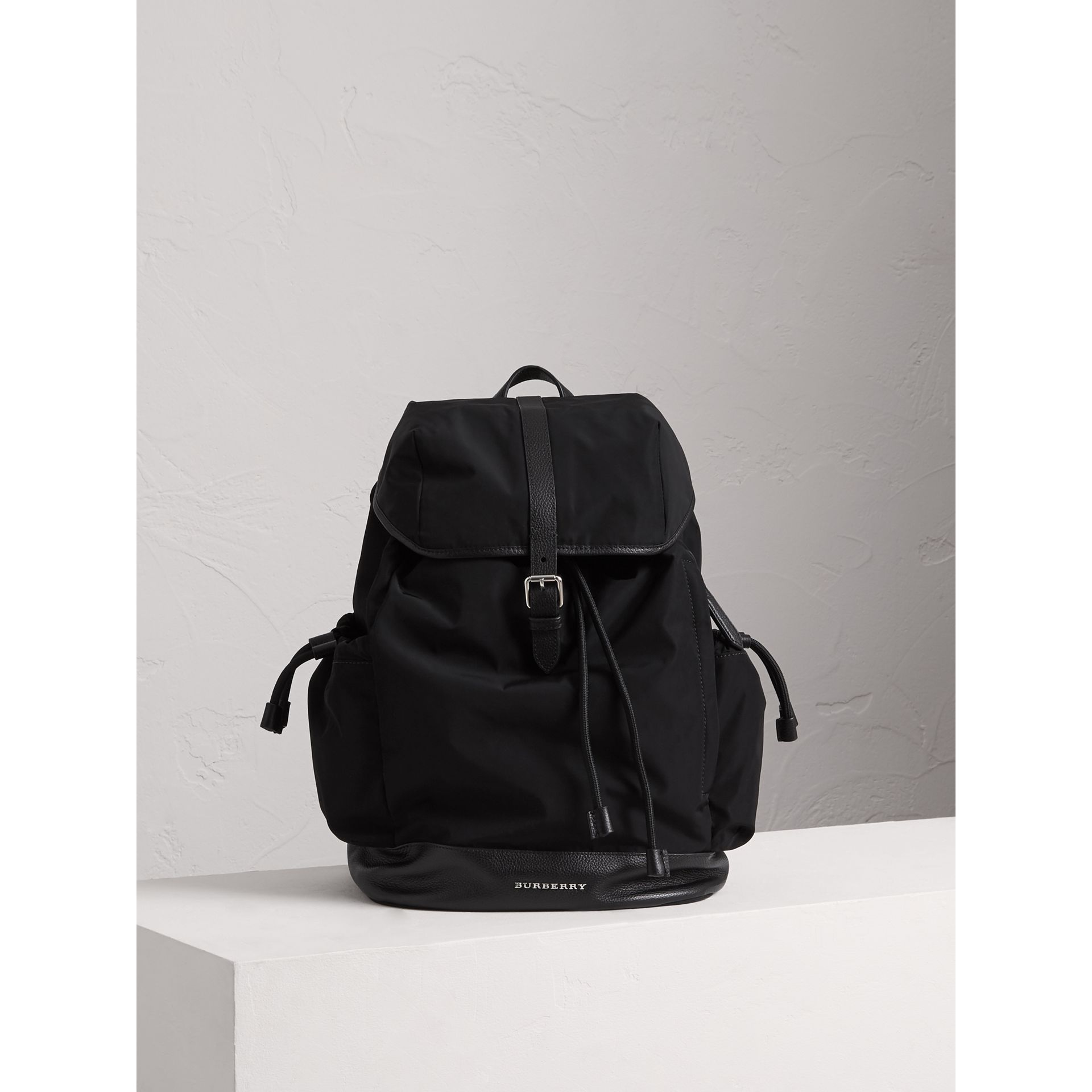 Leather Trim Baby Changing Rucksack in Black | Burberry - gallery image 4